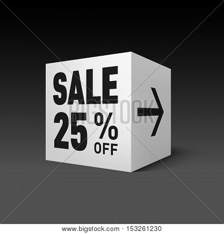 Cube Banner Template for Holiday Sale Event. Twenty-five Percent off Discount