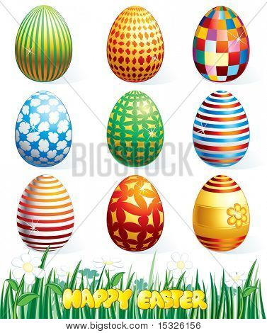 Collection of beauty easter eggs.- vector id=48603979