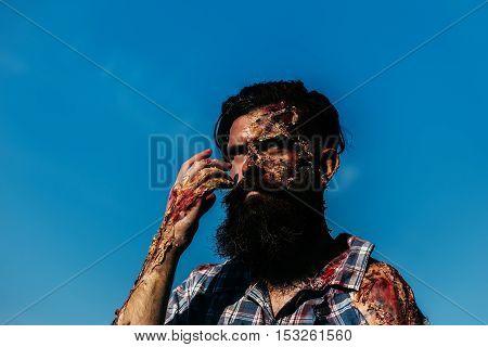 Bearded Bloody Zombie Man