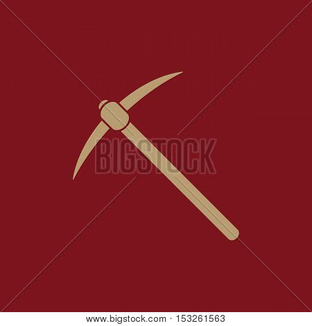 The pick icon. Pickax symbol. Flat Vector illustration
