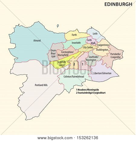 administrative and political map of the scotish capital Edinburgh