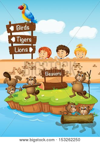 Children looking at beavers in the zoo illustration