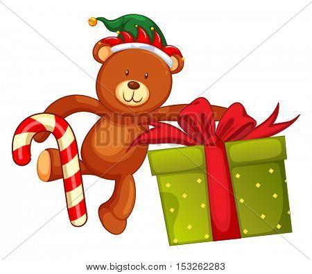 Teddy bear and christmas present illustration
