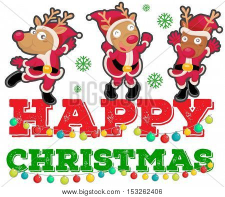 Christmas theme with three reindeers dancing illustration