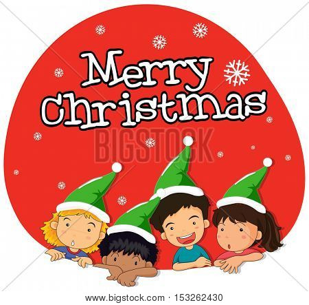 Christmas theme with kids in green hat illustration
