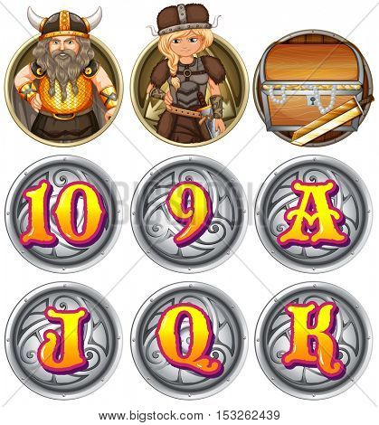 Viking characters and numbers on badges illustration