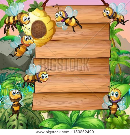 Wooden sign with bee flying in garden illustration