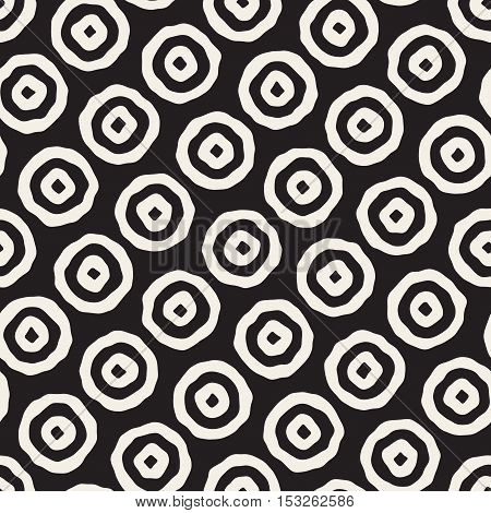 Vector Seamless Black Hand Drawn Concentric Circles Pattern. Abstract Freehand Background Design