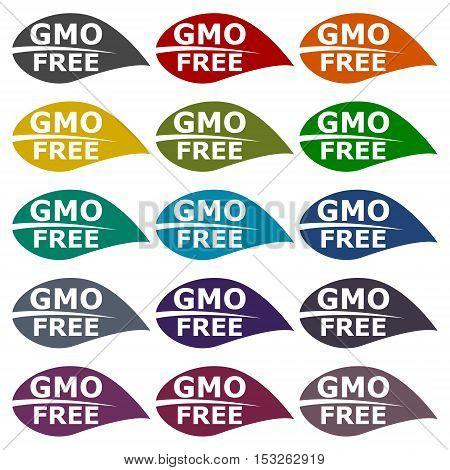 GMO Free Leaf icons set on white background