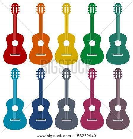 SImple vector Guitar icons set on white background