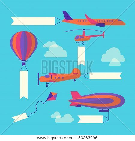 Air Vehicles Banners Set with Empty White Ribbons for Your Text. Flat Design Style. Vector illustration