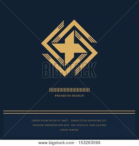 Geometric Monogram logo. Abstract design in trendy style. Monochrome emblem hipster. Minimal Design elements for logo badge banner insignias business card label. Vector Illustration