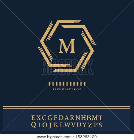 Geometric Monogram logo. Abstract template in trendy mono line style. English letters. Monochrome emblem hipster. Minimal Design elements for logo badge banner insignias frame label. Vector