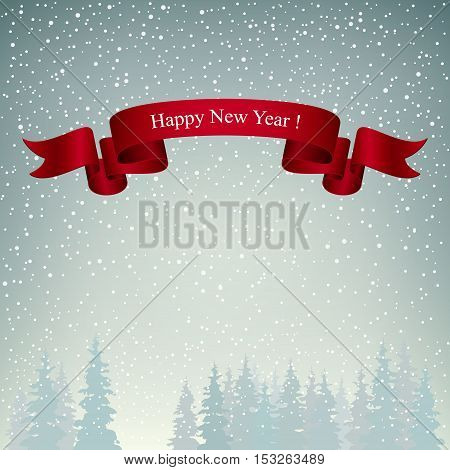 Snowfall in the Forest, Happy New Year, Landscape in Gray Shades, Winter Background, Vector Illustration