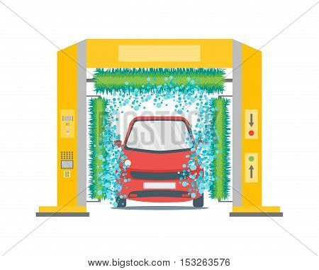 Car Wash Service Station Automatic Washing. Flat Design Style. Vector illustration