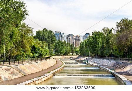 Esentay river in the city centre of Almaty - Kazakhstan