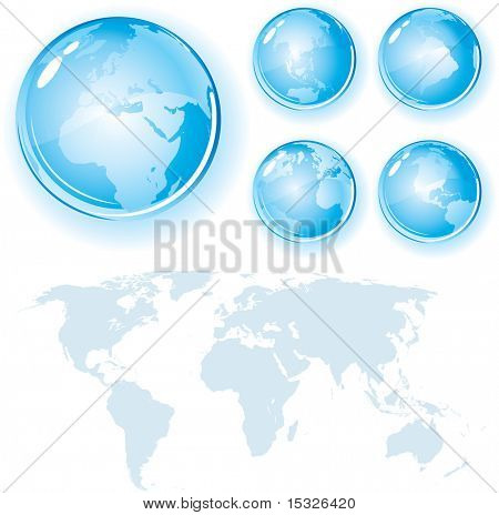 Glossy Globes Set with World Map Silhouette - detailed vector design elements