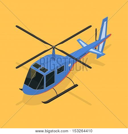 Helicopter Fast Air Passenger Transport Isometric View on Orange Background. Vector illustration
