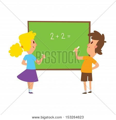 Group school kids going study together, childhood happy primary education character vector. School kids education and happy children study at primary school. School kids preschool classroom.