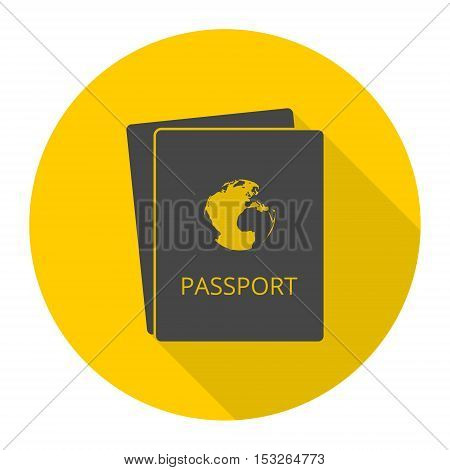Simple Passport icon with long shadow vector