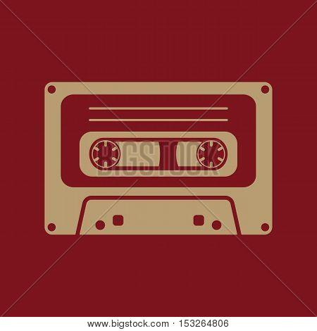 The tape icon. Cassette symbol. Flat Vector illustration