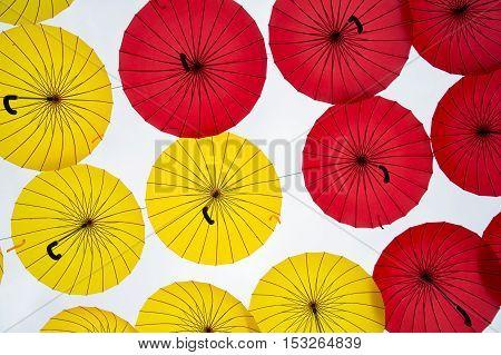 Different Colors Umbrellas Background