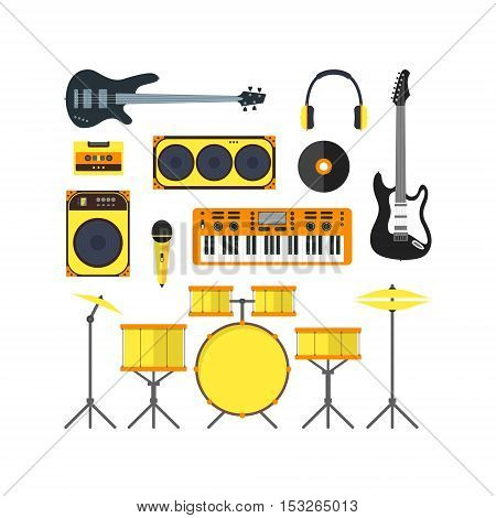 Musical Instruments and Music Tools Set Flat Design Style. Vector illustration