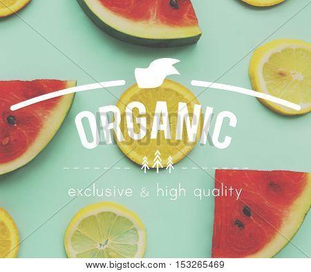 Food Nutrition Fit Graphic Healthy Watermelon  Orange Words Concept