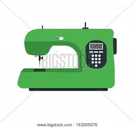 Green Electric Sewing Machine. Flat Design Style. Vector illustration