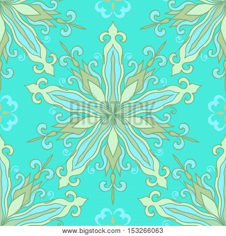 Seamless pattern with decorative circles in the style of a mandala. Vector illustration.