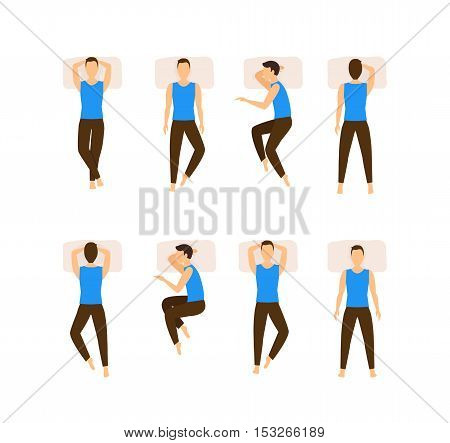 Different Sleeping Poses Set. Top View Man. Flat Design Style. Vector illustration