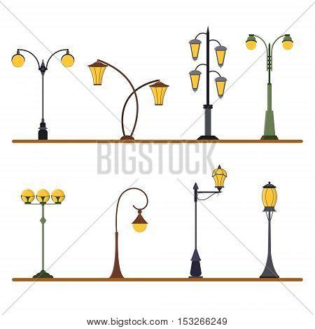Street Lamp Post Set. Urban Light Pole. Flat Design Style. Vector illustration