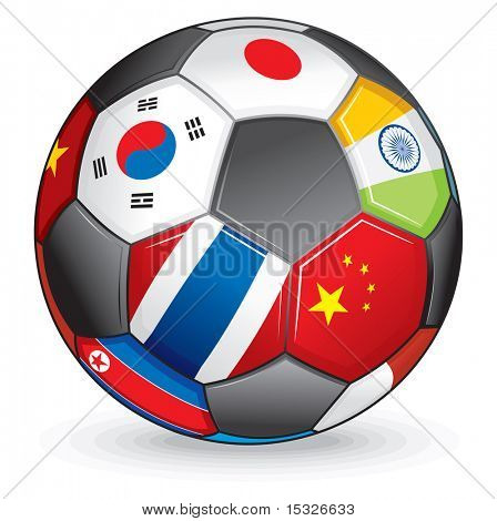 Soccer ball with asian flags-vector