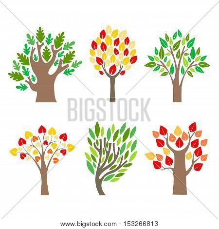 Cartoon Trees Set. Different Seasons. Flat Design Style. Vector illustration