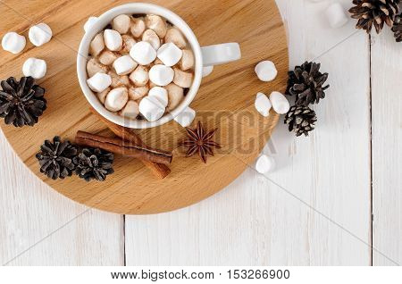 Cup Of Hot Cocoa With Marchmallows
