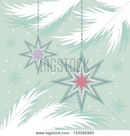 picture in retro style vintage star holiday decorations on decorative stylized branches of spruce in pastel colors