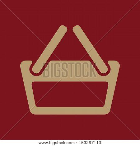 The basket shoping icon. Shop Basket symbol. Flat Vector illustration
