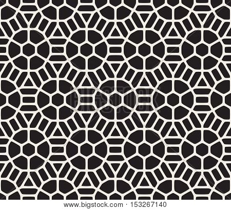 Vector Seamless Black And White Geometric Hexagon Rounded Grid Pattern. Abstract Geometric Background Design