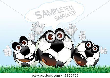 Desenhos animados de bolas de futebol com o discurso