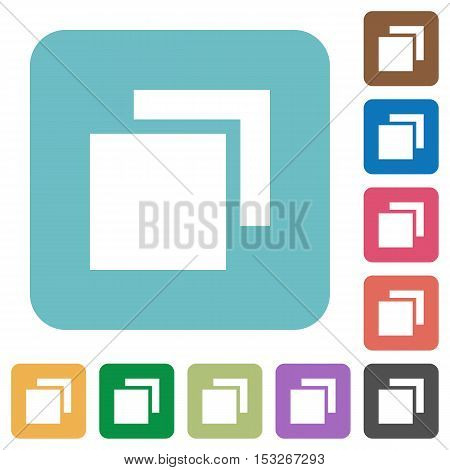 Overlapping elements flat icons on color rounded square backgrounds