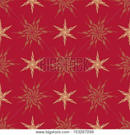 decorative seamless pattern stylized vintage gold star on a red background