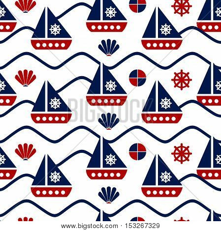 Seamless patterns with a maritime theme. Ship and sail, sea shell, bead, leather, sea waves. Blue and red colors. The pattern of sea shells and waves. Sea symbols and signs. Marine background.