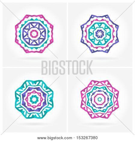 Set of Bright pink, blue mandala. Four beautiful circular ornament. Mandala. Decorative elements. Islam, Arabic, Indian, ottoman motifs. Set of beautiful ethnic, oriental ornaments. Stylized flowers.