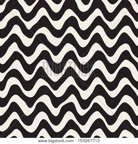 Vector Seamless Black Hand Drawn Wavy Lines Pattern. Abstract Freehand Background Design