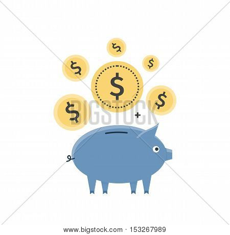 Savings concept vector. Bank interest illustration in flat style design. Golden coins falling in blue ceramic piggy bank. Tiny donations and investment. Isolated on white background.