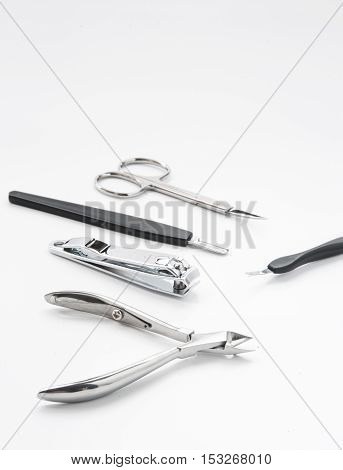 manicure tools set nail care top view on white background
