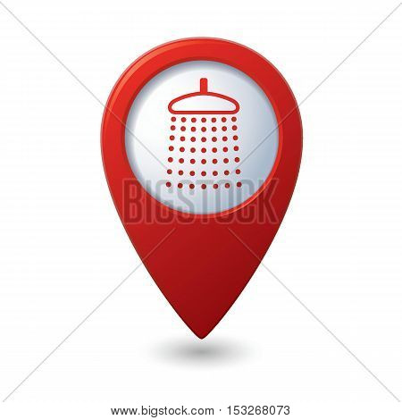 Map pointer with shower icon. Vector illustration