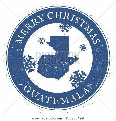 Guatemala Map. Vintage Merry Christmas Guatemala Stamp. Stylised Rubber Stamp With County Map And Me