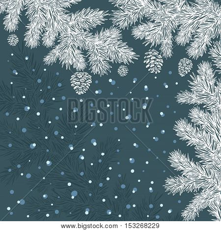 ornamental stylized white spruce branches with cones of the same color on a blue background with snow