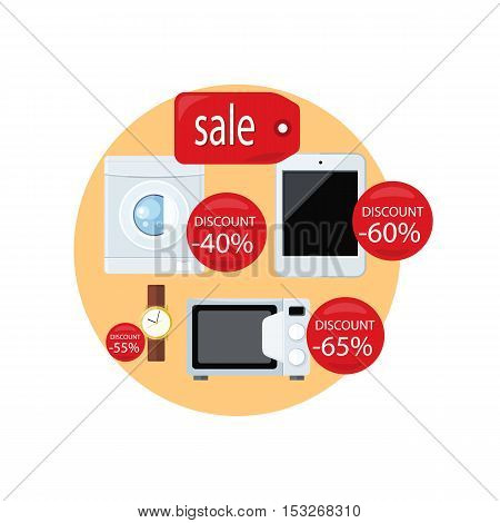 Sale and discount concept vector. Flat design. Household appliances and devices with percent discount stickers. Black friday. Illustration for electronics stores advertising.